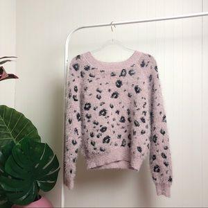 NWOT >> Fuzzy Leopard Print Sweater >> SZ M-L